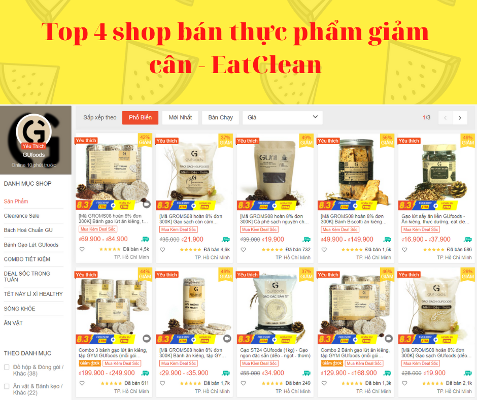 Top 4 shop bán thực phẩm giảm cân – EatClean trên Shopee