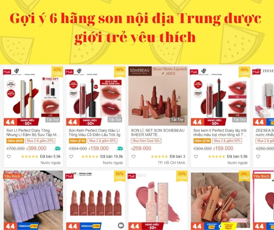 Gợi ý 6 hãng son nội địa Trung được giới trẻ yêu thích trên Shopee